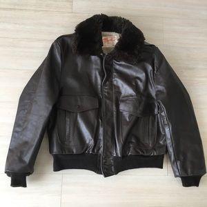 Vintage Brown Leather Bomber Flight Fit Jacket 44